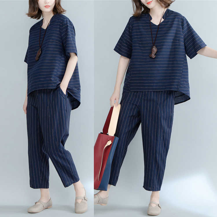 2018 New Arrival Summer Striped Cotton Linen T-Shirt And Calf-Length Pants Women Two Piece Set Garments T1804175