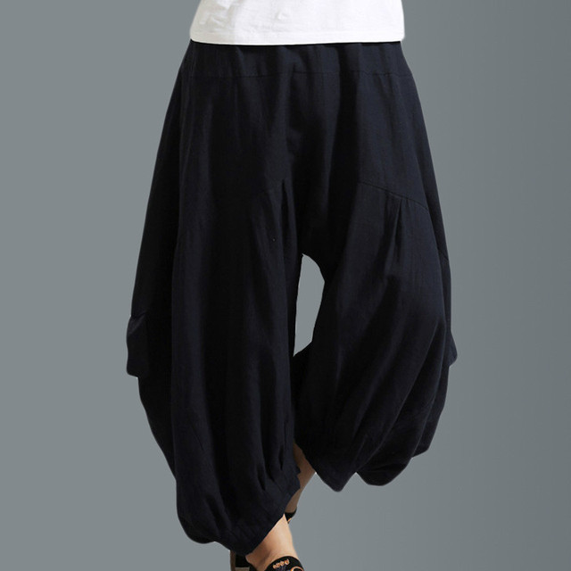 2017 new men casual pants high quality linen loose lanterns pants elasticity waist trousers fashion wide leg harem pant A113