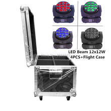 4pcs/lot With A Flight Case For 12x12W RGBW 4in1 LED Beam DMX512 Stage Spot Light Strobe Wash Lamp Effects Lighting For DJ Club
