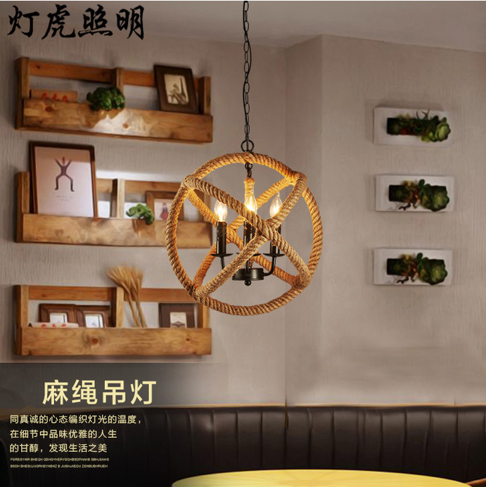 3 heads Loft light  ancient Creative pastoral clothing store cafe hemp rope Pendant lights American country droplight lamp|rope pendant light|pendant lights|loft light - title=