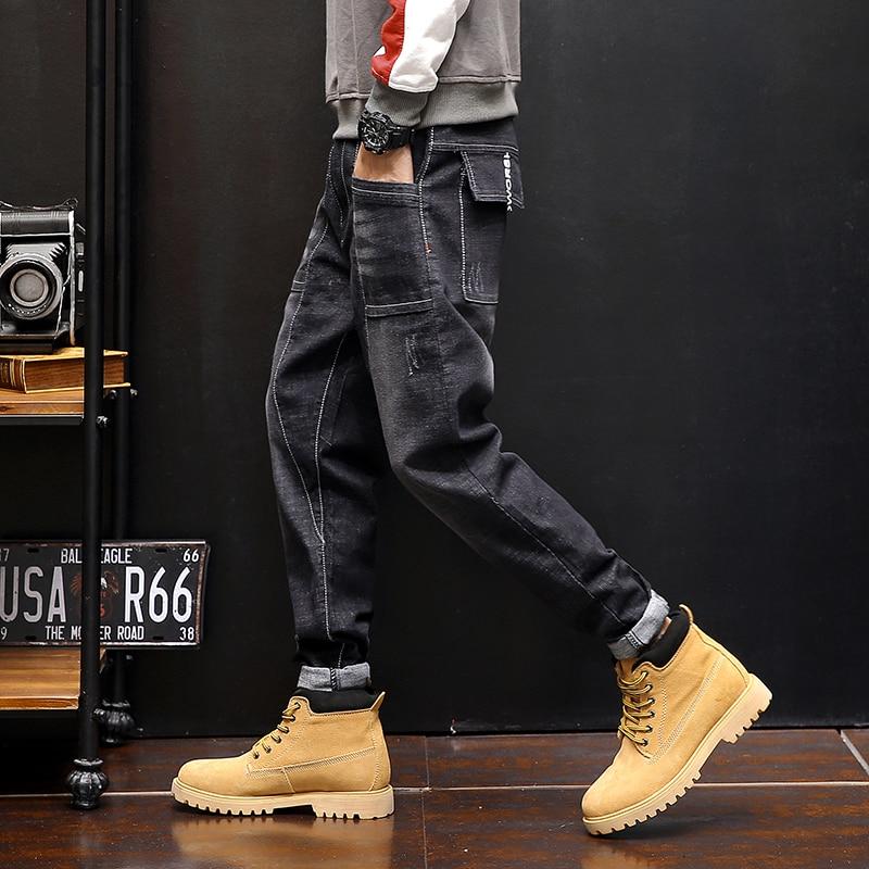 Top Designer Jeans Mens Casual Denim Pants Black Harem Jeans Solid Japan Style Male Trousers Plus Size 28-38 40 42 #5506