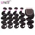 Unice Haar Brasilianische Körper Welle 4 Bundles mit Verschluss 100% Menschliches Haar Bundles mit Verschluss Remy Haar Spitze Verschluss mit bundles