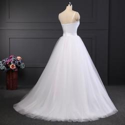 LORIE Spaghetti Strap Beach Wedding Dresses 2019 Vestido Noiva Praia Simple White Tulle Casamento Sashes Bridal Gown Custom made 6