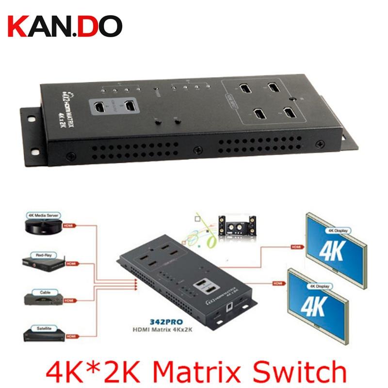 342pro 4x2 HDMI 1080P 4Kx2K HDMI Wall-Mountable HDMI Matrix 4x2 Switch Splitter(4 In 2 Out) IR Remote Control Matrix Switch