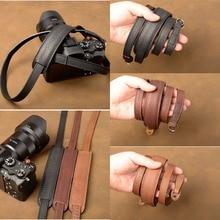 цена на AYdgcam Brand Handmade Genuine Leather Camera Strap Camera Shoulder Sling Belt For Canon Nikon Sony FUJI Fujifilm Leica Pentax