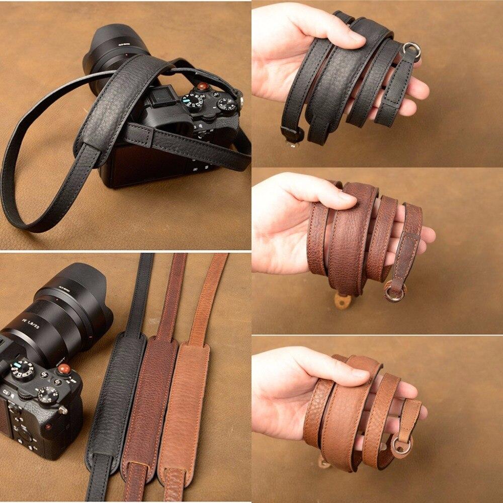 AYdgcam Marque À La Main En Cuir Véritable Courroie De L'appareil photo Bandoulière Sling Ceinture Pour Canon Nikon Sony FUJI Fujifilm Leica Pentax