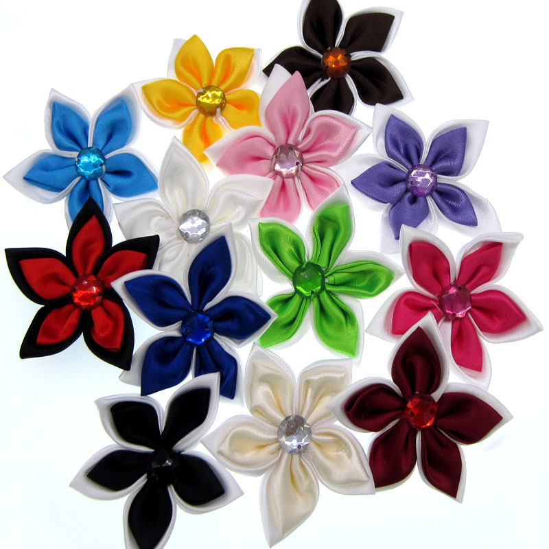 20Pcs Satin Flowers Rhinestone Star Shaped 2 Layers Applique Sewing Hair  Bow Accessories Craft Decorations 5.0cm 2bd6fa871c21