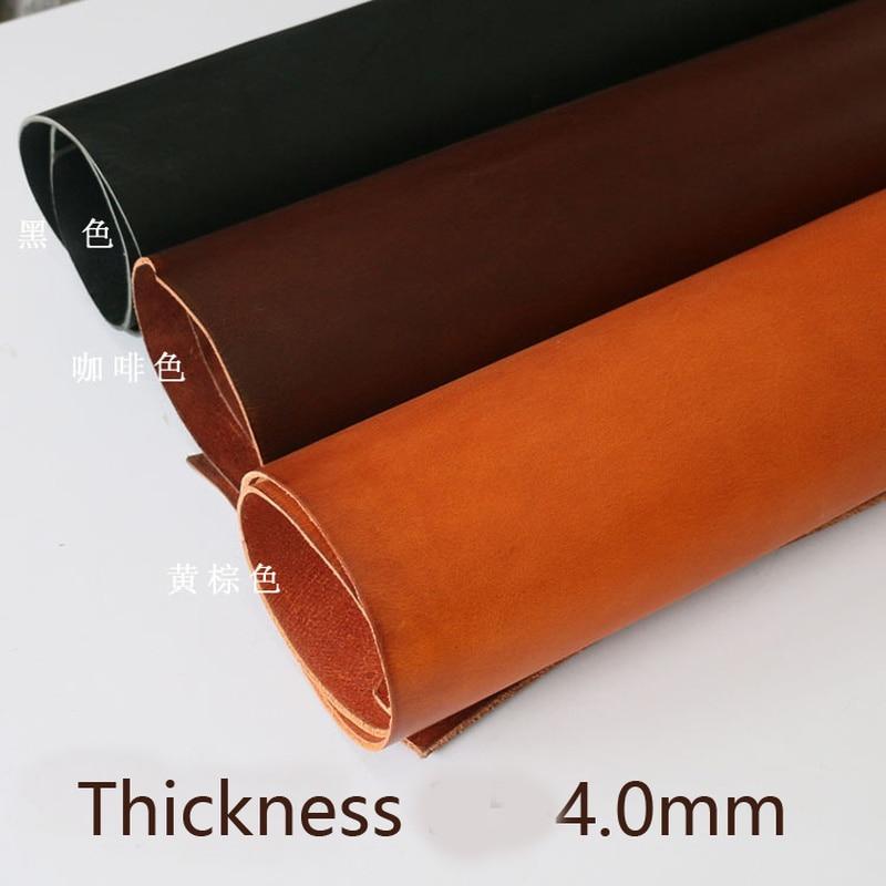 4.0mm de espessura encerado veg curtido couro artesanal diy primeira camada peça de couro acabado grão cheia material de couro tambor