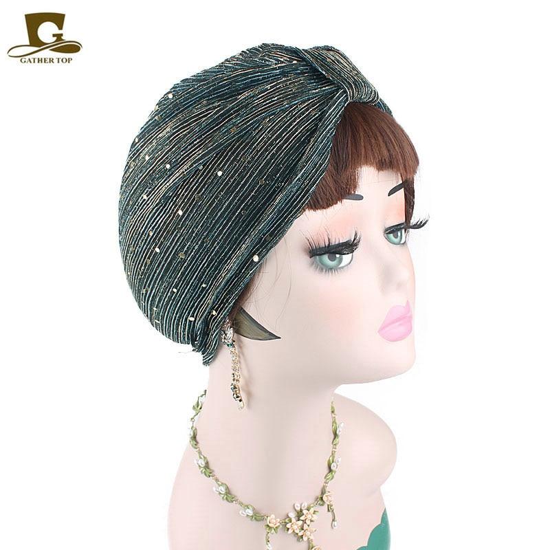 New Spring Shiny Gold sequined Mesh ruffle turban Headwrap women   headwear   muslim hat   Headwear   Turbante Hijab Hair Accessories
