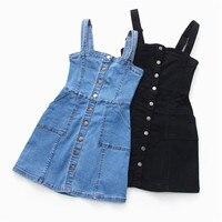 Denim Dress 2019 Summer Slim Sweet Style Strap Jeans Dress Women Preppy Suspender Denim Sundress Denim Overall Mini Dress