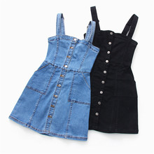Sukienka jeansowa 2019 lato Slim słodki styl pasek dżinsy sukienka kobiety Preppy pończoch Denim Sundress Denim ogólnie Mini sukienka