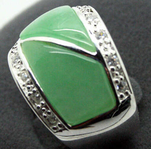 ZCD 322 +++ชายและหญิงของเครื่องประดับจริงๆธรรมชาติสีเขียวแหวน