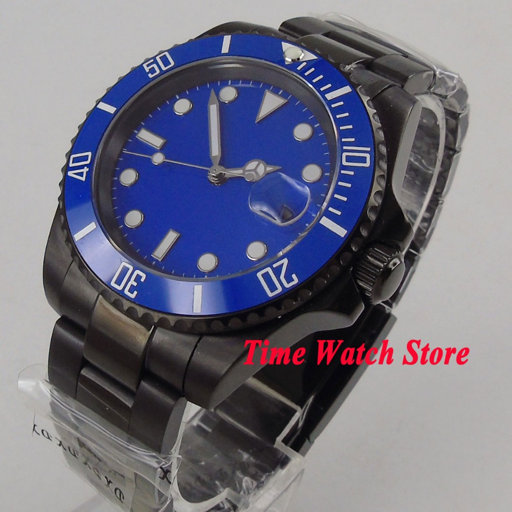 Parnis watch 40mm blue sterile dial luminous Ceramic Bezel PVD case sapphire glass Automatic movement Men's watch 1062 40mm parnis black dial ceramic bezel pvd case luminous vintage sapphire automatic movement mens watch p145