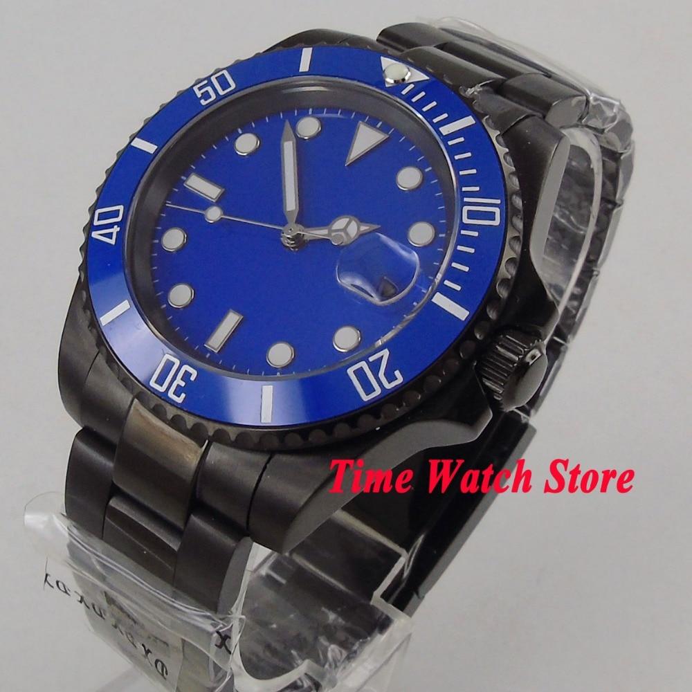 Parnis watch 40mm blue sterile dial luminous Ceramic Bezel PVD case sapphire glass Automatic movement Men's watch 1062 цена и фото
