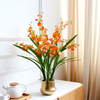 1 set flower + vase high grade well designed table artificial Latex orchid flower arrangement real touch