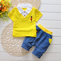Мальчик одежды 2015 летние детская одежда устанавливает футболка + брючный костюм комплект одежды одежда новорожденного спортивные костюмы