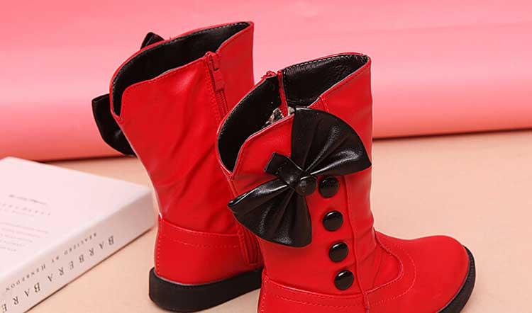 Hiver imperméable filles bottes Ski tissu chaud neige bottes enfants filles enfants arc chaussures filles en cuir coton bottes #20 - 5