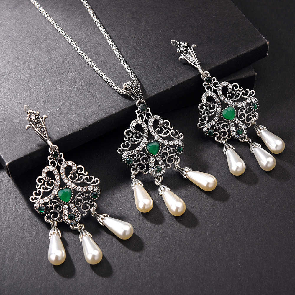 Clip Hooks Earrings and Necklace Set Turkish Vintage Silver Color Bijoux Arab Bride Crystal Green Resin Pears Ethnic Jewellry