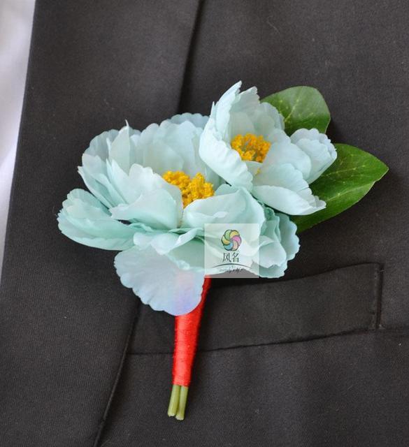 5Pcs Handmade Groom Groomsmen Boutonniere Artificial Small Silk Peony  Flower Wedding Corsage Man Suit Brooch Light