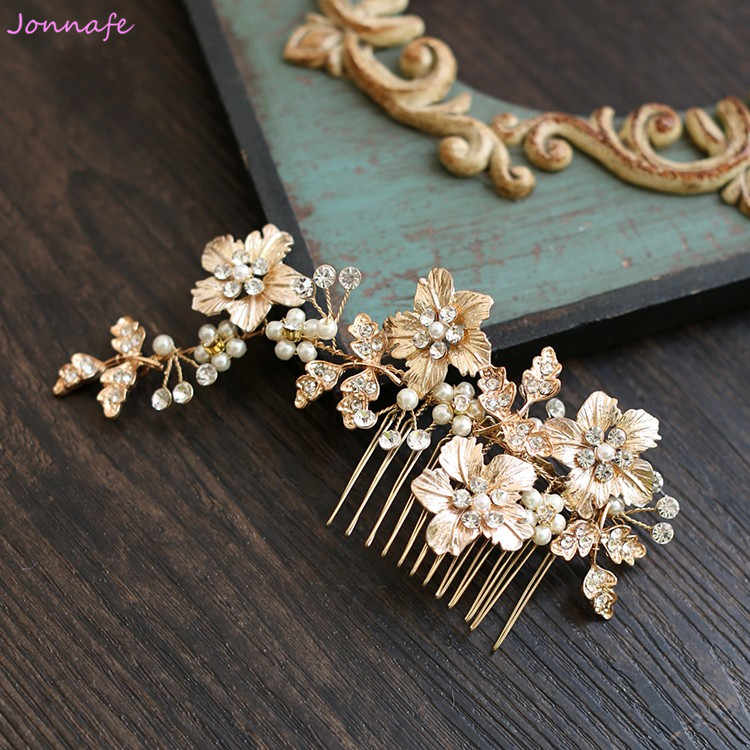 Jonnafe Gold Flower Leaf Hair Comb Bridal Headpiece Crystal Wedding Pearls Jewelry Hair Accessories