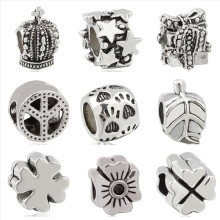 Btuamb Punk Style Peace Sign Flower Christmas Tree Leaves Alloy Beads Fit Pandora Charm Bracelets for Women Making Jewelry Gift(China)
