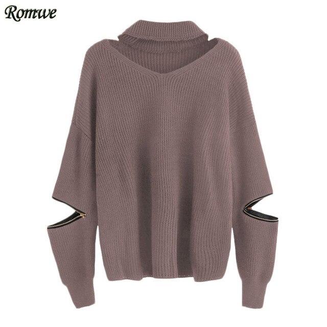 ROMWE 2016 New Women Sweater Women Fashion Autumn Brown Choker V Neck Long Sleeve Sweater With Sleeve Zip Detail