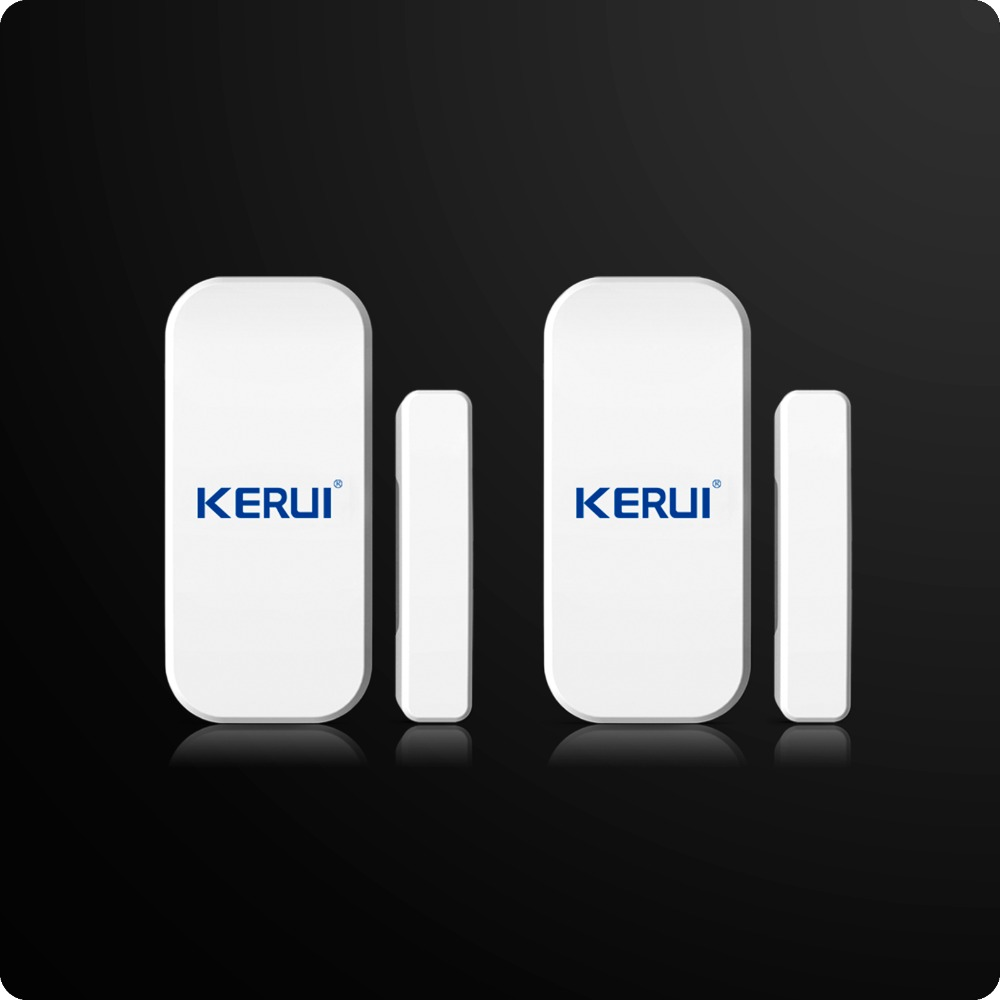 2pcs/lot Kerui Extra Home Wireless Door Window Detector For Home Alarm System Touch Keypad Battery Included wireless smoke fire detector for wireless for touch keypad panel wifi gsm home security burglar voice alarm system