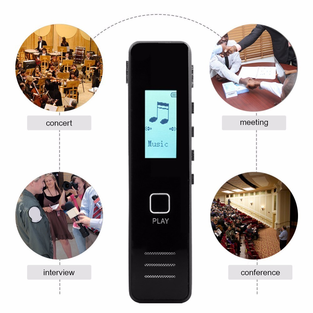 Digital Voice Recorder Pen HD Recording Lossless Format Play Portable 8GB Voice Recorder with MP3 Player for Conferences