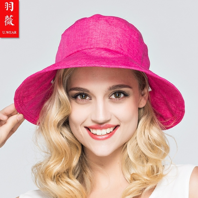 08b6cf3f2 2016 New Anti UV Sunscreen Hat Bow Downproof Lady Outdoor Travelling Beach  Sun Cap Large Brim Beach Sun Hat Beach Cap B 3712-in Sun Hats from Women's  ...