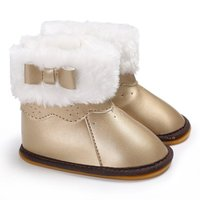 Infant Toddler Newborn Girls Winter Bowknot Crib First Walkers PU Leather Keep Warm Soft Rubber Soled Baby Shoes Hot Sale