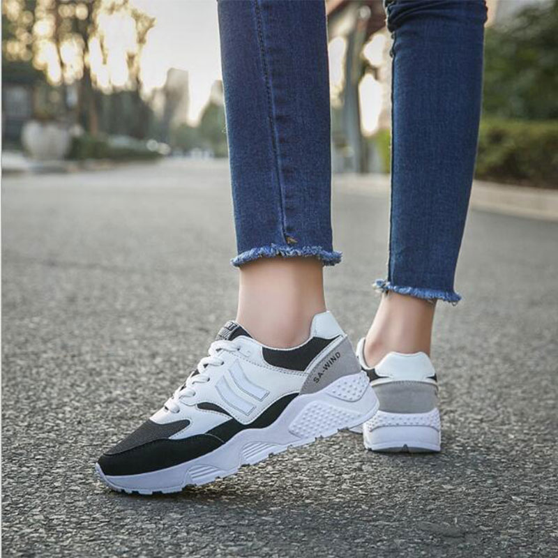 Woman Sport Sneakers For Adults Breathable Mesh Height Increasing Platform Running Sports Shoes 2018 Spring Outdoor Walking