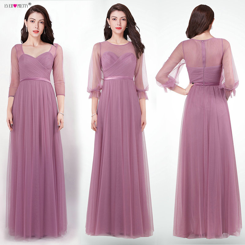 Evening     Dresses   Long 2018 Ever Pretty EZ07663 Women's Elegant Dusty Pink Long Sleeve Winter Autumn Special Occasion Party Gowns