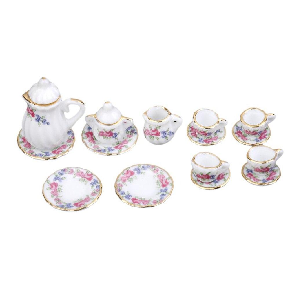 1/12 Dollhouse Миниатюрные столовая посуда фарфор Чай комплект 15 шт. Morning Glory ...