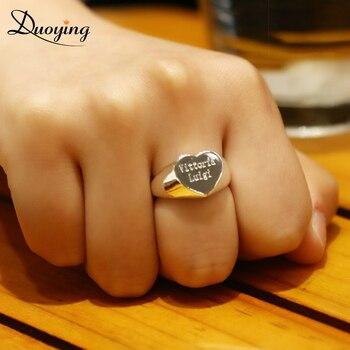DUOYING Nach Ring Personalisierte Ringe Kupfer Ring Männer Antike Herz Individuell Graviert Schmuck RK55