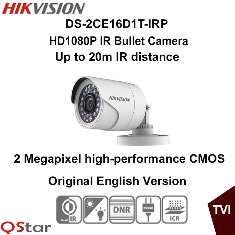 Hikvision Original English Version DS-2CE16D1T-IRP HD1080P IR Bullet Camera 2MP IP66 weatherproof Up the Coax CCTV Camera irit irp 01 мини