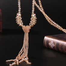Fashion Long Tassel Sweater Chain Glass Crystal Beaded Necklace For Women Girl Vintage Pendant Necklace Jewlery 90cm Trendy 2019(China)