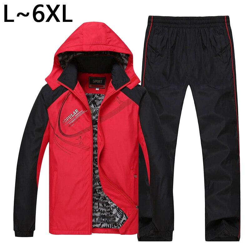 5XL 6XL Winter Jacket Men Warm Parka Coat Hoodies Set Jacket+Pants 2PCS Sportswear Suit Men Thicken Cotton Brand Tracksuit SP040