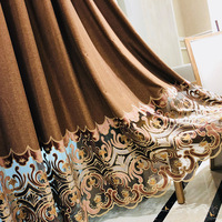 Simple Modern European Curtains for Bedroom Blackout Curtains for Living Room Flat Embroidery Brown Curtains