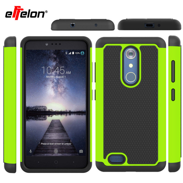 Effelon ZMax Pro Z981 PC + Silicone Dual Layer Anti Shock Rugged 3D Grain Armor Case For ZTE Z981 Hard Impact Back Cover Cases
