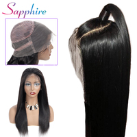Sapphire 360 Lace Frontal Wig Lace Front Human Hair Wigs Brazilian Remy Straight 360 Lace Frontal Wig Per Plucked With Baby Hair