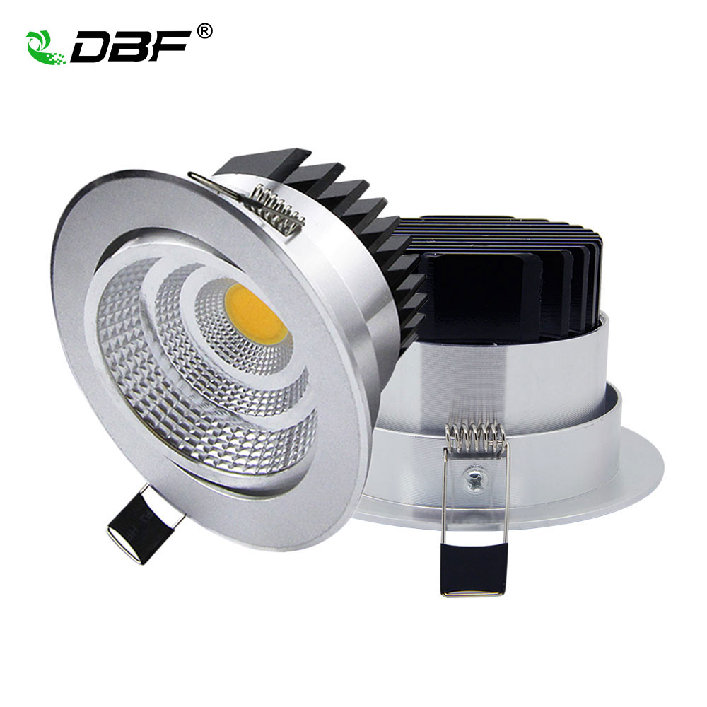 Sølv Ultra nydelig Dimmable LED COB Downlight AC110V 220V 6W / 9W / 12W / 18W Innfelt LED Spot Light Dekorasjon Taklampe