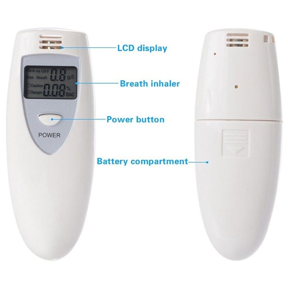 Белый ЖК-дисплей дыхательный спирт Алкотестер Тестер Алкотестер детектор парковки Профессиональный Тестер дыхания