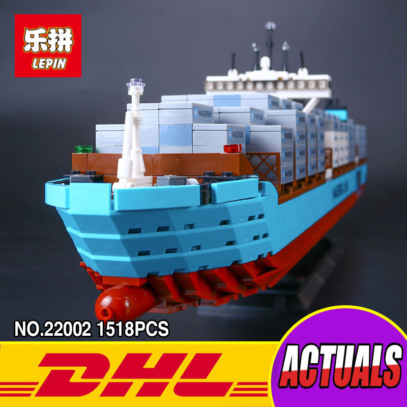 New Lepin 22002 Genuine Technic Series The Maersk Cargo Container Ship Set 10241 Building Blocks Bricks Educational Toys lepin 22002 1518pcs the maersk cargo container ship set educational building blocks bricks model toys compatible legoed 10241