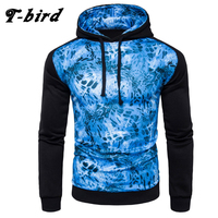 T Bird 2017 New Fashion Hoodies Brand Men Blue Leopard Print Sweatshirt Male Hoody Hip Hop