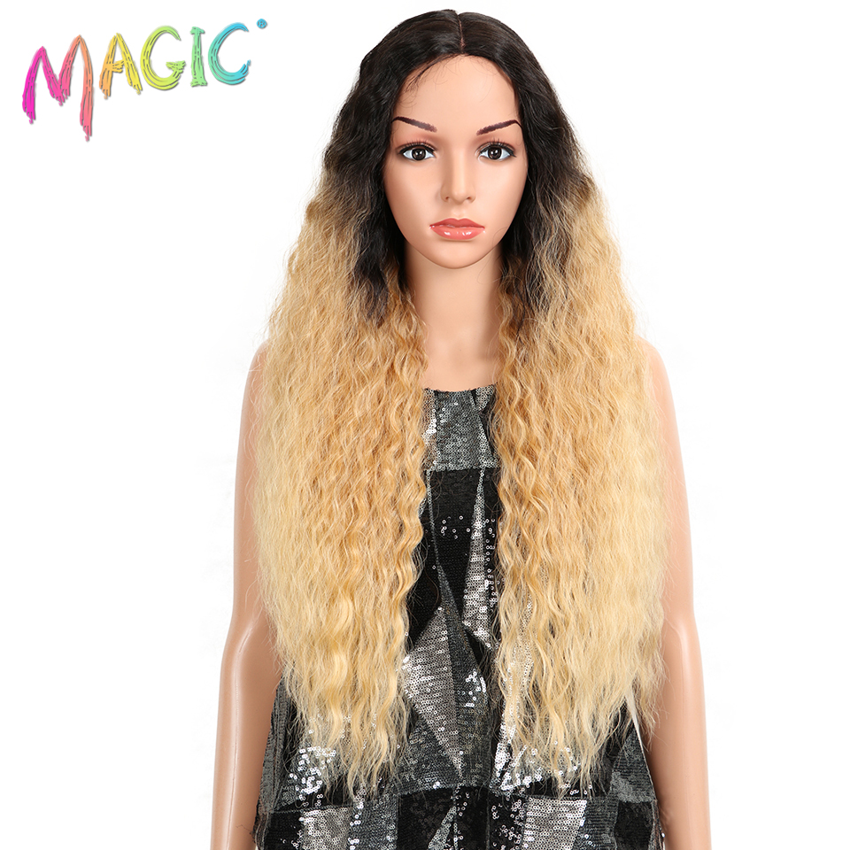 MAGIC Hair 150% Density Free Style Ombre Blonde Synthetic Lace Front Curly Wig For Black Women 30