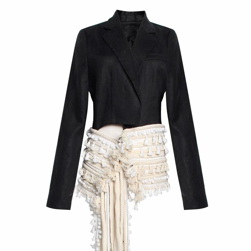 Damentaschen Rot Roosarosee Quaste Kugeln Patchwork Frauen Revers Langarm Schlank Asymmetrische Farbe Hit Mode 2019 Designer Outwear Jacke Gepäck & Taschen