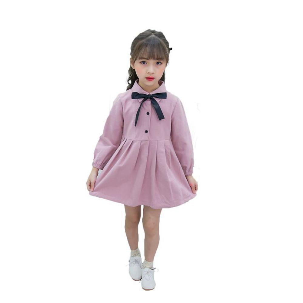 2018 New Girls Dress Long Sleeve Kids Dresses Solid Bow Children Princess Toddlers Bow Button Dresses girls beauty glamorous bow sequin embroidery bubble long sleeve full clip dress