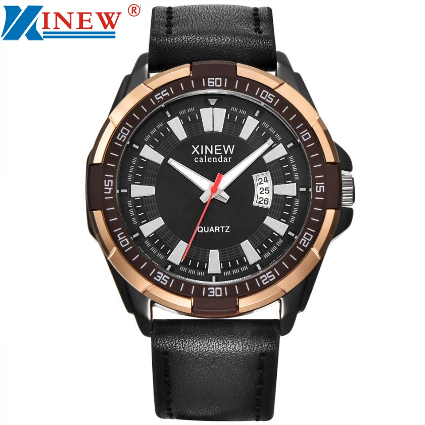 XINEW Luxury Men's Aviator White Automatic Mechanical Date Day Leather Wrist Watch M3202 mens watches top brand luxury 2017 aviator white automatic mechanical date day leather wrist watch business reloj hombre