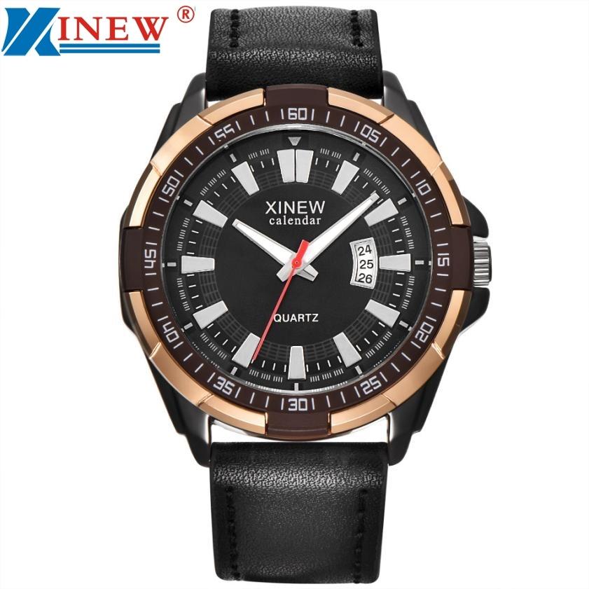 купить XINEW Luxury Men's Aviator White Automatic Mechanical Date Day Leather Wrist Watch M3202 недорого