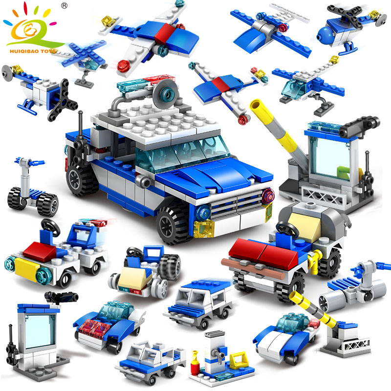 305pcs 16in1 Police station Helicopter car Building Blocks Compatible Legoed City Police Construction Bricks Toys For children kazi 6726 police station building blocks helicopter boat model bricks toys compatible famous brand brinquedos birthday gift